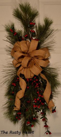 DIY Simple Christmas Swag instead of a wreath this year.