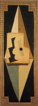 """Pablo Picasso (Spanish, 1881–1973)  Guitar  Date:Paris, early 1919Medium:Oil, charcoal and pinned paper on canvasDimensions:7' 1"""" x 31"""" (216 x 78.8 cm)Credit Line:Gift of A. Conger Goodyear"""