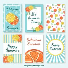 Collection of cute summer card with fruits Free Vector