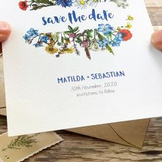 Save The Date Invitations, Save The Date Cards, Custom Invitations, Invites, Wedding Invitations, Spring Flowers, Blue Flowers, Wild Flowers, Boho Wedding