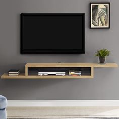 Vidalia Floating TV Stand for TVs up to - Ascend Asymmetrical Wall Mounted TV Component Shelf - Pallet Furniture Tv Stand, Tv Furniture, Living Room Furniture, Furniture Stores, Furniture Dolly, Furniture Movers, Furniture Outlet, Discount Furniture, Wall Mount Tv Shelf