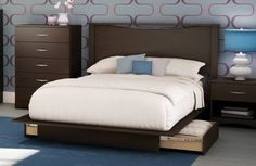 Queen Full Brown Platform Storage Bed Frame Drawers Headboard Contemporary NEW #ModernContemporary