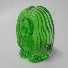 "Bergdala Swedish art glass 4"" TROLL/gonk figure & LABEL/sticker, green Vintage Mid-century Scandinavian figurine."