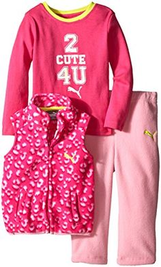 PUMA BabyGirls 3 Piece Vest and Bodysuit Leopard Print with Solid Pant Pink Bow 18 Months ** For more information, visit image link.