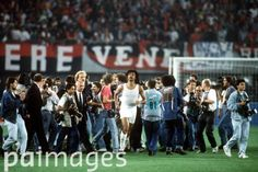 AC Milan's Ruud Gullit escapes the media scrum after his team's 1-0 victory - European Cup Final - AC Milan v Benfica - Praterstadion. 23rd May 1990