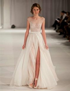 Coco Chanel 2017 I Could Rock This Illusion Neckline Wedding Dress