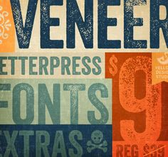 Veneer Font Family. 8 unique fonts. From lightly distressed to heavily distressed, you'll soon own: Veneer, Veneer Italic, Veneer Two, Veneer Two Italic, Veneer Three, Veneer Three Italic, Veneer Extras, and Veneer Extras Italic.