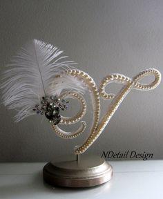 Wedding Cake Topper & Display Monogram Letter V by NDetailDesign, $105.99