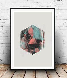 Watercolor abstract, Abstract print, geometric art, nordic art, scandinavian print, gemoetric decor, hexagon print, modern art, minimalist
