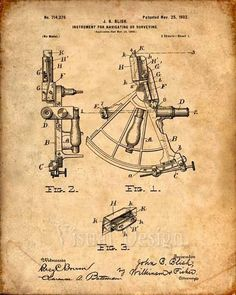 This is a print of the patent drawing for a sailing sextant patent from 1902. The original patent has been cleaned up and enhanced to create an attractive display piece for your home or office. This is a great way to put your interests and hobbies on display. Wonderful gift idea as well. #patentdrawing