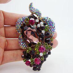 Aliexpress.com: Koop Strass broche mode mooie paars kristal bloem blad broche pin unieke vrouw decoratieve sieraden van betrouwbare pin detector leveranciers op TTjewelry