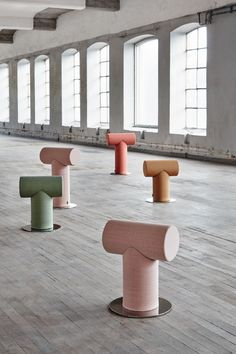 Mr. T stool by DuverellGIERTZ. By investigating fonts and exploring different letters, duverellGIERTZ (Ola Giertz and Roger Duverelle) found inspiration for their latest furniture project which is based on a basic shape which creates an archetypal seating furniture. A graphic and minimalistic stool, a sharp shape with soft edges. A swivel base allows the users to turn towards different areas of a room, while the different heights of the stools help to create a dynamic space…