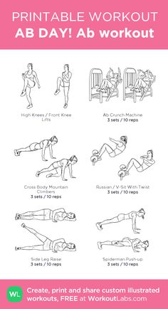 AB DAY! Ab workout – my custom workout created at WorkoutLabs.com • Click through to download as printable PDF! #customworkout