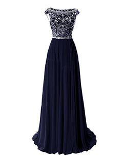 Elegant Floor Length Bridesmaid Cap Sleeve Prom Evening Dresses Navy,prom dresses long, evening dresses, beaded prom dress,prom dresses 2015