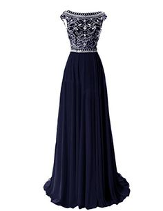 Elegant Floor Length Bridesmaid Cap Sleeve Prom Evening Dresses Navy,prom dresses long, evening dresses, beaded prom dress,prom dresses 2015