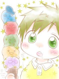 Swimmer boys' icecream, LOL ... From niwakunkun ... Free! - Iwatobi Swim Club, makoto tachibana, makoto, tachibana, free!, iwatobi