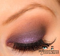 Too Faced Chocolate Bar Palette Look : MAC Half Wild Paint Pot (on lid, as a base) – can also use Maybelline's Painted Purple here, Salted Caramel (crease), Candied Violet (applied wet over Half Wild on the lid), Semi Sweet (blend Candied Violet into Salted Caramel and lower lashline), Triple Fudge (outer v), MAC Blanc Type (blending shade)