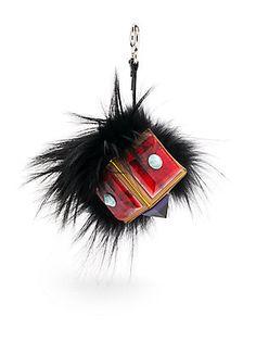 Fendi Fox Fur & Leather Prism Bag Bug - Black-