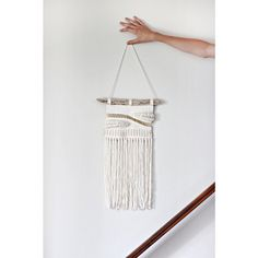 tapestry wall hanging cream gold weaving cotton cord by nanoutriko