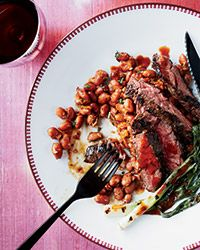 Skirt Steak with Pinto Beans and Pasilla Chile Vinaigrette