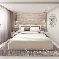 A lovely peaceful neutral colour scheme in this bedroom. Texture adds warmth and interest Cozy Bedroom, Dream Bedroom, Home Decor Bedroom, Modern Bedroom, Bedroom Furniture, Bedroom Ceiling, Bedroom Wall, Modern Home Interior Design, Master Bedroom Design