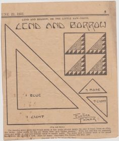 Lend and Borrow quilt pattern from The Weekly Kansas City Star June 22, 1932