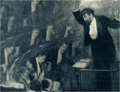 "(conducting) Sir Henry Wood (1869-1944), painting (1908), by Cyrus Cuneo (1879-1916), published in ""Illustrated London News""."