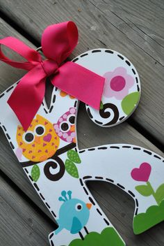 HairBow Holder - HAPPI DAY - Initial - Handpainted and Personalized Bow Holder - M2M Dena Happi Tree Bedding and Decor