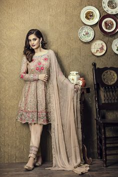 Shop beige georgette party wear anarkali suit , freeshipping all over the world , Item code Pakistani Fashion Party Wear, Pakistani Party Wear Dresses, Shadi Dresses, Pakistani Wedding Outfits, Pakistani Dress Design, Indian Dresses, Indian Outfits, Indian Fashion, Salwar Suits Pakistani