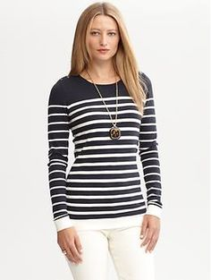 I bought this sweater yesterday..  Striped button-shoulder pullover   Banana Republic