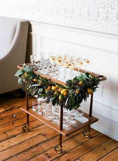 Your Ultimate Holiday Party Planning Guide - The Everygirl holiday bar cart decor Bar Cart Styling, Bar Cart Decor, Martha Stewart Weddings, Winter Wedding Flowers, Fall Wedding, Arch Wedding, Gown Wedding, Wedding Cakes, Wedding Rings