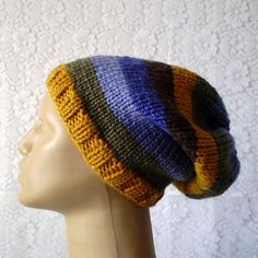 5e10326ca7c Slouchy hat in mustard gold olive green blue brown stripes mens womens  winter hat mens womens knit hat men womens slouchy hat slouchy beanie