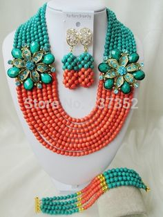 bridal wedding jewelry on sale at reasonable prices, buy Brand Laanc Cyan Blue Coral Color Stone African Beads Bridal Wedding Jewelry Sets from mobile site on Aliexpress Now! Orange And Turquoise, Teal Green, Turquoise Beads, Turquoise Necklace, China Jewelry, Coral Jewelry, Beaded Jewelry, Beaded Necklace, African Beads