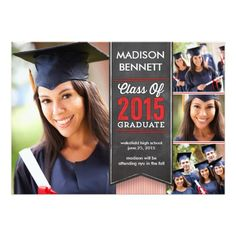 "Graduation | 2015 Stacked Banner Red 5"" X 7"" Invitation Card"