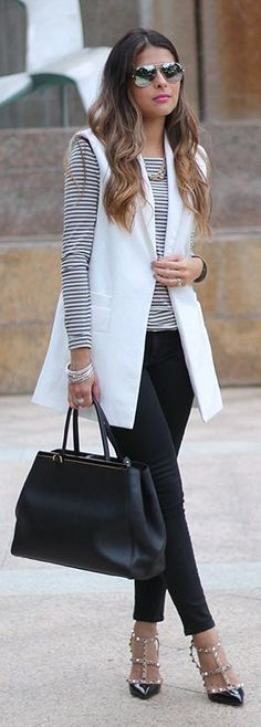 White Vest On Stripes Fall Inspo by The Girl From Panama