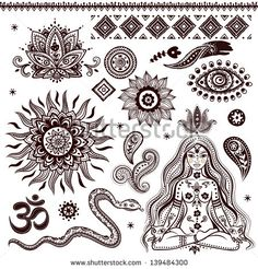 Set of ornamental Indian elements and symbols - stock vector