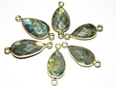 Framed Blue Flashy Labradorite Faceted Pear by GemsPebblesandBeads, $18.78