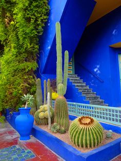 In 1980 the Jardin Majorelle in Marrakech, Morocco was bought by Yves Saint Laurent and Pierre Bergé they respect the vision of Jacques Majorelle. Moroccan Garden, Mexican Garden, Moroccan Design, Moroccan Style, Garden Art, Garden Design, Pintura Exterior, Garden Inspiration, Yves Saint Laurent