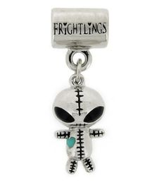 G Alienling, Frightlings silver slider charm with rhodium plating, hand painted enamel touches and a glow in the dark heart! £45 inc standard UK delivery, character poem and branded packaging. 5mm hole fits most high street snake style chains.
