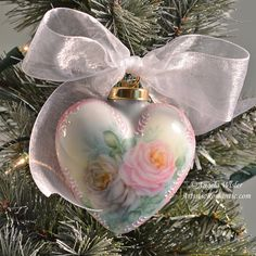 Cottage Style Christmas Ornament China Painted Victorian Heart White Pink Roses Porcelain - Artistic Romantic  - 1