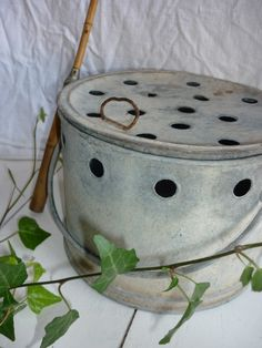 goujonnière ronde  ou seau à escargots en zinc chez labrocantedenel.canalblog.com