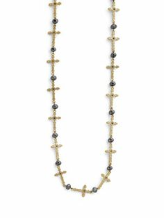 "Eternity Cross Necklace, genuine crystal, 42-45"", $36."