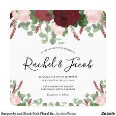 Burgundy and Blush Pink Floral Bridal Shower Invitation Wedding Shower Invitations, Elegant Invitations, Burgundy Flowers, Watercolor Wedding Invitations, Floral Watercolor, Blush Pink, Light Rose