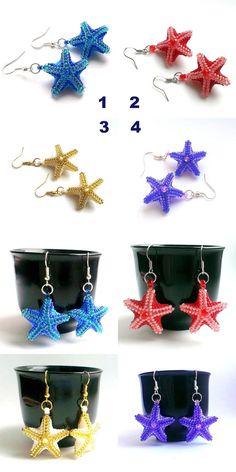 Star Beaded Earrings   Xmas Earrings  Seed Bead Earring  от Galiga