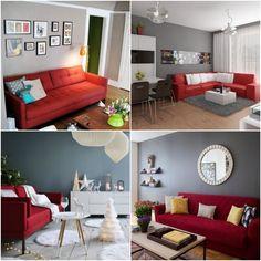 salon canapé rouge peinture mur gris