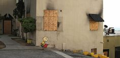 Charlie Brown (@OfficialPeanuts Arsonist) by Banksy by dullhunk on Flickr.