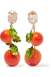 Dolce & GabbanaGold-plated, Swarovski crystal and enamel clip earrings