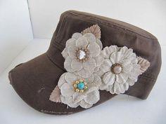 Military Cadet Hat, Brown, Cadet Hat, Military Hat, Woman, Cap, Burlap Flowers, Cadet Caps, Rhinestone Cadet Cap Rhinestone Cadet Cap on Etsy, $20.00