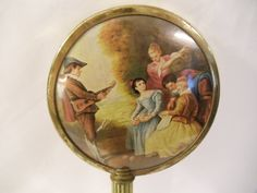 Victorian French Limoges Scene Hand Mirror