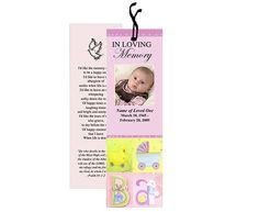 Memorial Bookmark Templates for a child or baby. Special baby graphics accents in design.